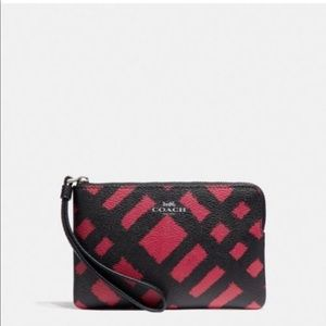 Coach black and red wild plaid wristlet